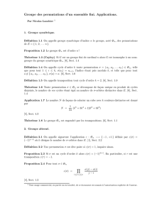 Groupe des permutations d`un ensemble fini. Applications.