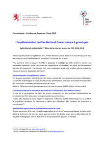 L`implémentation du Plan National Cancer avance à