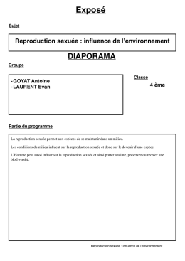 reproduction sexuee-influence de l`environnement