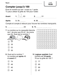 Compter jusqu`à 100 - Fox Hollow French Immersion