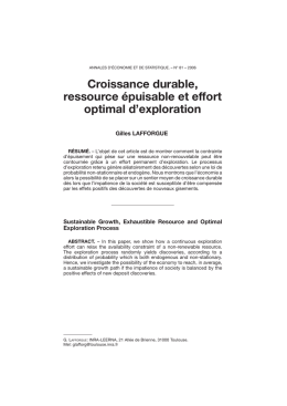 Croissance durable, ressource épuisable et effort optimal d`exploration