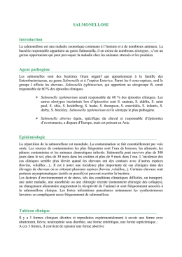 SALMONELLOSE Introduction Agent pathogène Epidémiologie