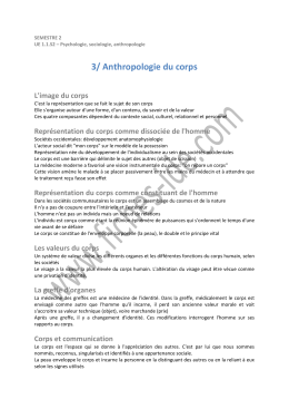 3/ Anthropologie du corps - Fiches