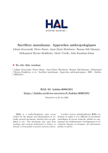 Sacrifices musulmans. Approches anthropologiques