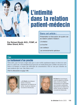 La relation patient-médecin - STA HealthCare Communications