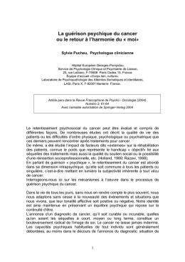 Lire l`article - Cancer et Psychologie asbl