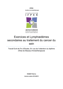 Exercices et Lymphœdèmes secondaires au traitement du cancer