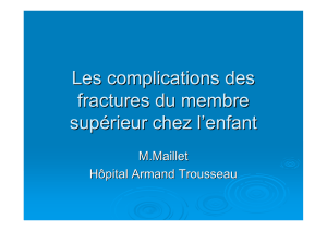 Complication fractures membre superieur