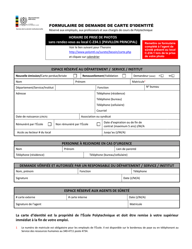 document renouvellement carte d identité FORMULAIRE DE DEMANDE DE CARTE D`IDENTITÉ HORAIRE
