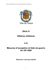 Série H Affaires militaires 4 H Mesures d`exception