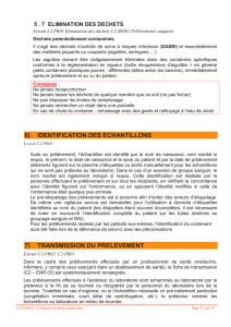 6) identification des echantillons 7) transmission du prelevement