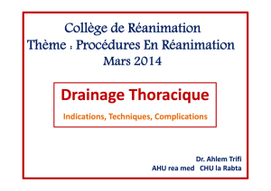 Drainage Thoracique - Association Tunisienne de Réanimation