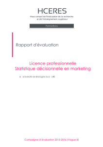 Evaluation de la licence professionnelle Statistique