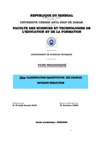 Classification quantitative des couples oxydant-réducteur