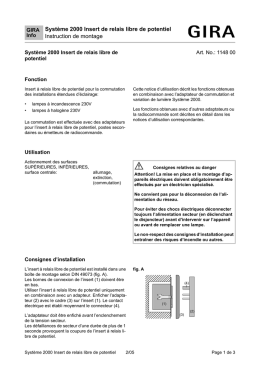 Système 2000 Insert de relais libre de potentiel Instruction de montage
