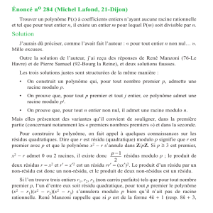 Énoncé no284 (Michel Lafond, 21-Dijon) Solution