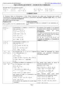 Equations quotients - exercices corrigés