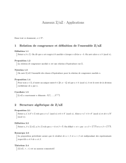 Anneaux Z/nZ - Applications - Epsilon 2000