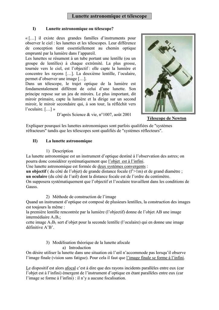 dc50769e8c Lunette astronomique et télescope I) Lunette astronomique ou télescope? «  […] il existe deux grandes familles d'instruments pour observer le ciel :  les ...