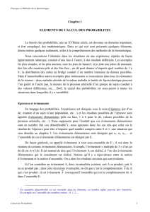 ELEMENTS DE CALCUL DES PROBABILITES