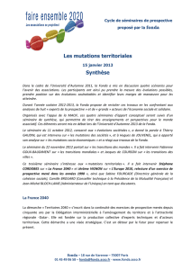 Les mutations territoriales Synthèse