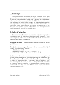 Arithmétique Principe d`induction