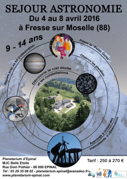 Dossier inscription Camp Astro