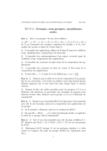 TD No 2 - Groupes, sous-groupes, morphismes, ordre.