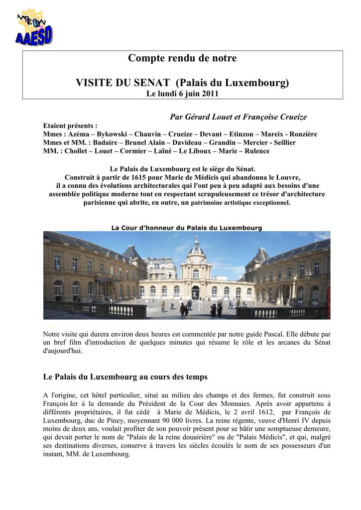 Compte Rendu De Notre Visite Du Senat Palais Du Luxembourg
