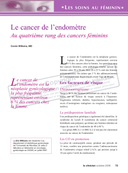 Le cancer de l`endomètre - STA HealthCare Communications
