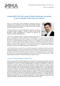 Jérôme BOUTEILLER rejoint la Mobile Marketing Association