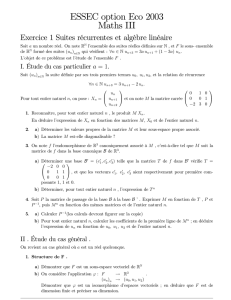 ESSEC option Eco 2003 Maths III