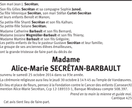 Madame Alice-Marie SECRÉTAN-BARBAULT