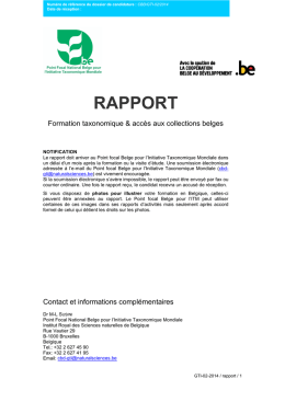 rapport - Belgian National Focal Point to the Global Taxonomy