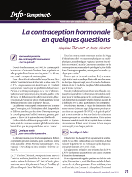 La contraception hormonale en quelques