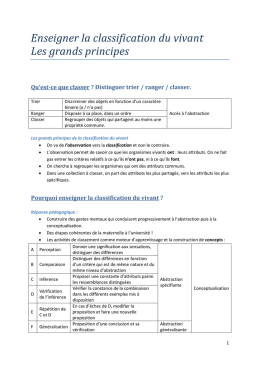 Enseigner la classification du vivant Les grands principes