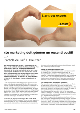 Le marketing doit générer un ressenti positif ...» L`article