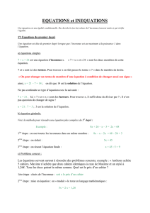 EQUATIONS et INEQUATIONS