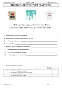 Cours DIVISIONS, QUOTIENTS et Fractions - Maths en Force