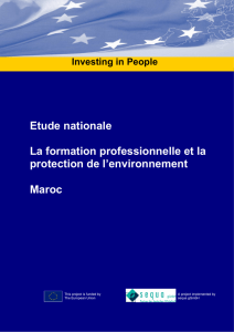 Etude nationale La formation professionnelle et la protection