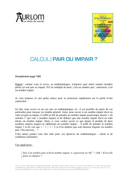 CALCUL | PAIR OU IMPAIR ?
