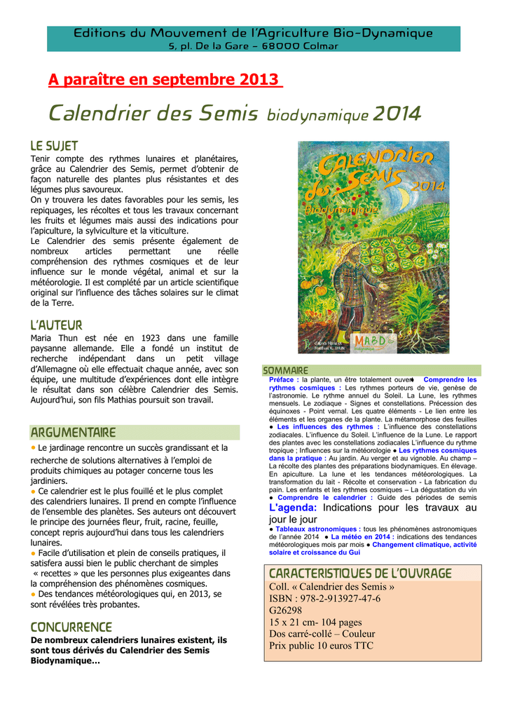 Calendrier Des Semis Biodynamique.Calendrier Des Semis Biodynamique 2014
