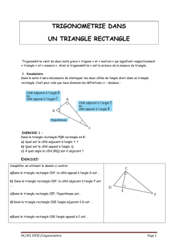 trigonometrie dans un triangle rectangle