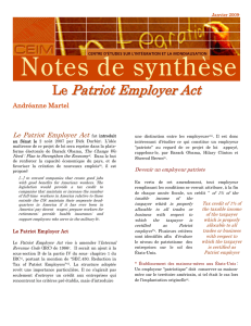 Le Patriot Employer Act - IEIM-UQAM