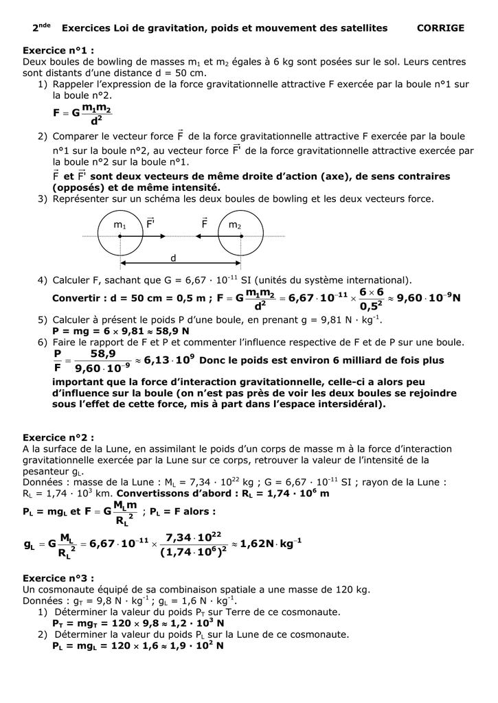 Correction Exercice Gravitation