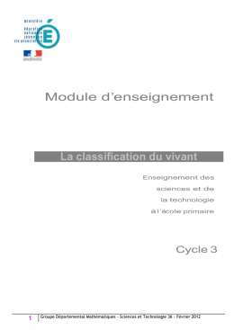 Module d`enseignement La classification du vivant