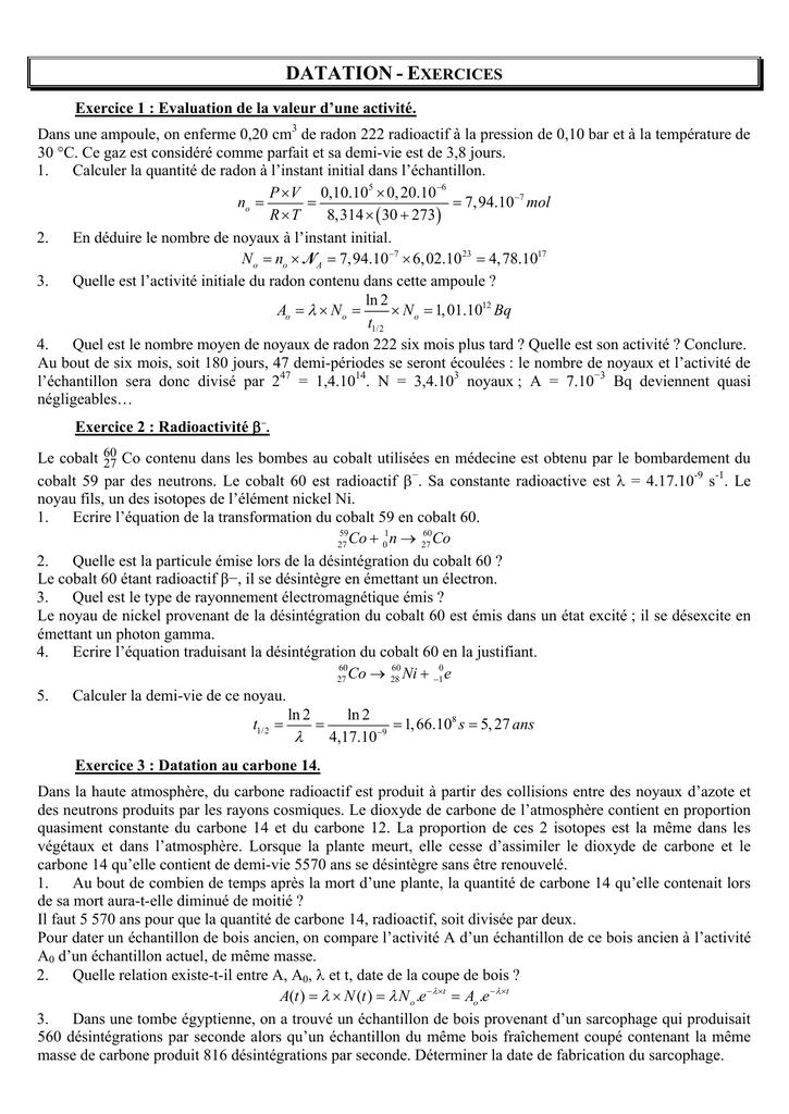 Applications de datation normales