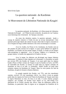 La question nationale du Kurdistan et le Mouvement de Libération
