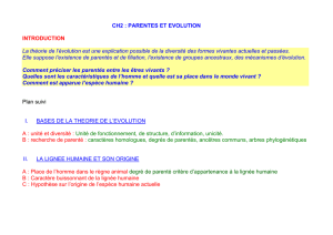 CH1 : PARENTES ENTRE ETRES VIVANTS ET EVOLUTION