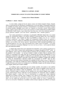 ITALIEN ÉPREUVE À OPTION : ÉCRIT VERSION DE LANGUE